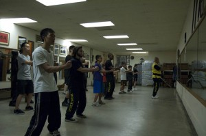 Sifu Eddie Chong leads the class in the first form, Siu Lim Tao