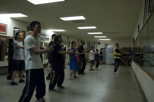 Sifu Eddie Chong leads the class in the first form, Siu Lim Tao